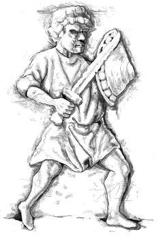 Εικόνα 8.Ο πρόδρομος της φύλαξης 'Μισή ασπίδα' όπου η ασπίδα κρατείτε πλησιέστερα στο στήθος. Βασισμένο από το έκθεμα του μουσείου Petit Palais, Paris, έκθεμα Νο O.DUT.1273.Από το αρχείο φωτογραφείων του κ. Timothy Dowson.