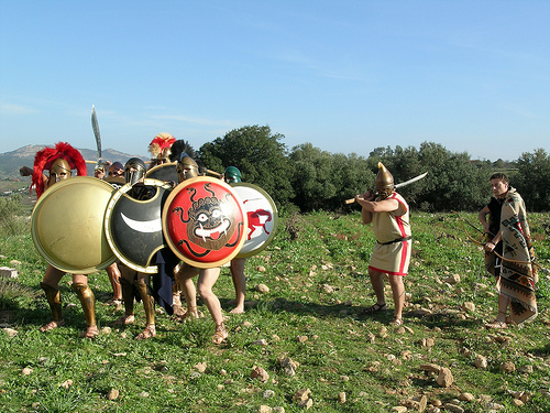 "Greek phalanx. Courtesy Living Hisrory Association ""KORYVANTES"""