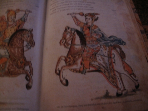p.80r Pistoforos the son of the king of Byzantium charges.