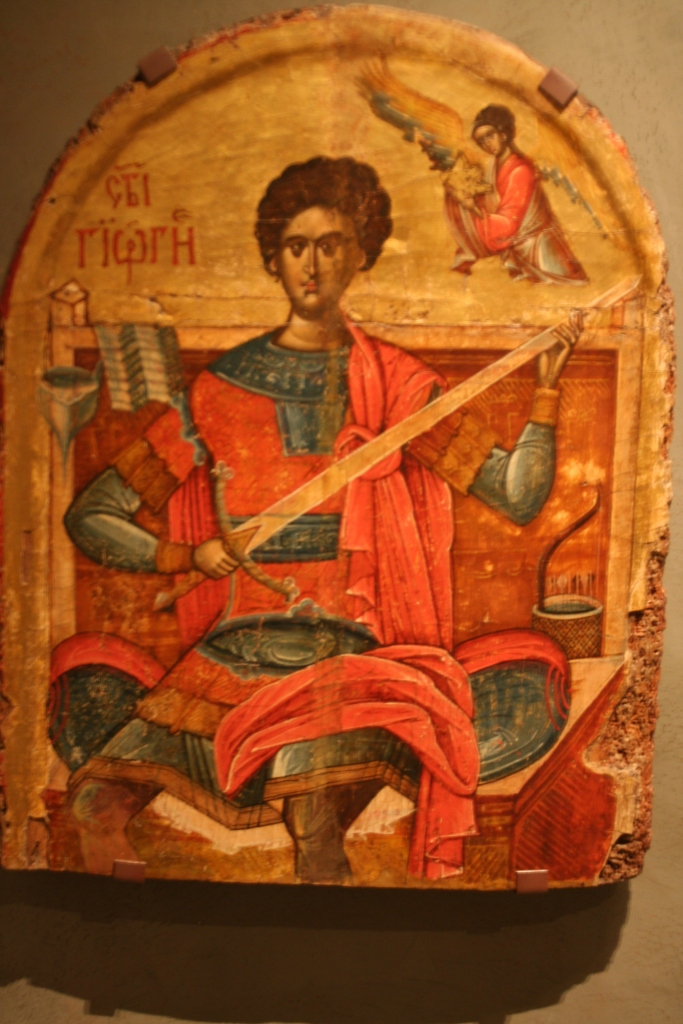 In this Byzantine icon of st. George, wehave an example of Byzantine rompaia.
