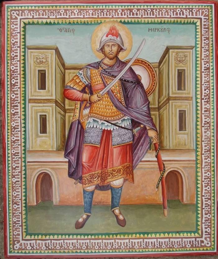 Αγίος Μερκουρίος, προστάτης Άγιος της Ακαδημίας Ιστορικών Ευρωπαϊκών Πολεμικών Τεχνών  'Λέοντες' . Έργο του Δημήτριου Σκουρτέλη