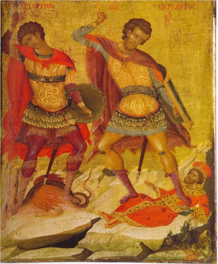 Ο Άγιος Γεώργιος μαζί με τον Άγιο Μερκούριο