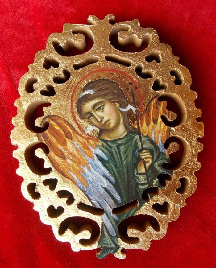 Ο Αρχάγγελος Σαρακαήλ  με Κοντάρι (Quarterstaff) , έργο της ίδιας.