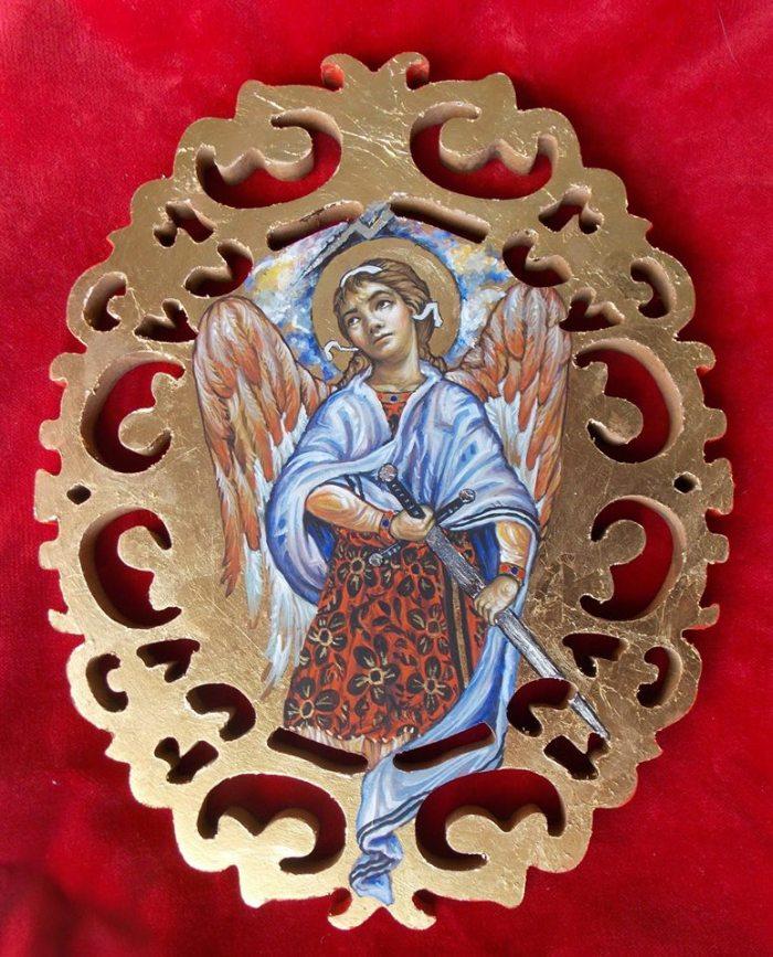 Ο Αρχάγγελος Γαβριήλ  με Μακρύ Σπαθί σε ιδεατή  θέση  της φύλαξης του 'μισού σπαθιού', έργο της ίδιας.