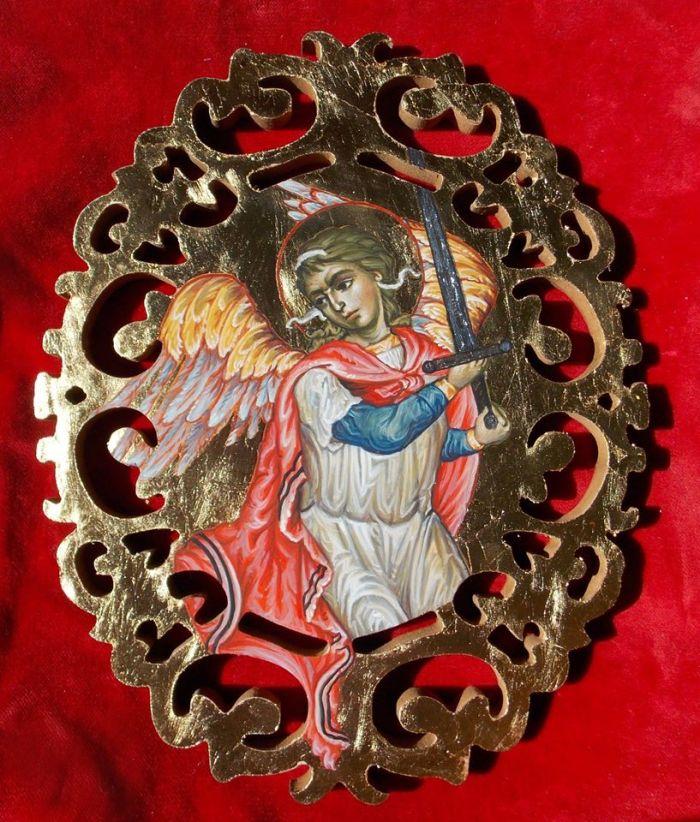 Ο Αρχάγγελος Μιχαήλ με Μακρύ Σπαθί, έργο της Μαρίας Σιδέρη μέλους της Ακαδημίας Ιστορικών Ευρωπαϊκών Πολεμικών Τεχνών 'Λέοντες'