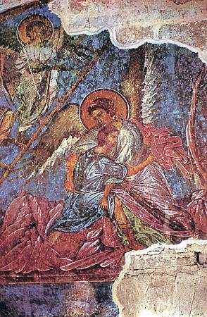 H πάλη του Iακώβ με τον Άγγελο. Aγία Σοφία στην Tραπεζούντα (γύρω στα 1260)