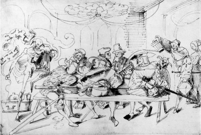 'Mercenaries in the Tavern', of Urs Graf. Two Greeks (Romioi) Stratioti are sitting in the same table with the German mercenaries the famous Landsknecht.