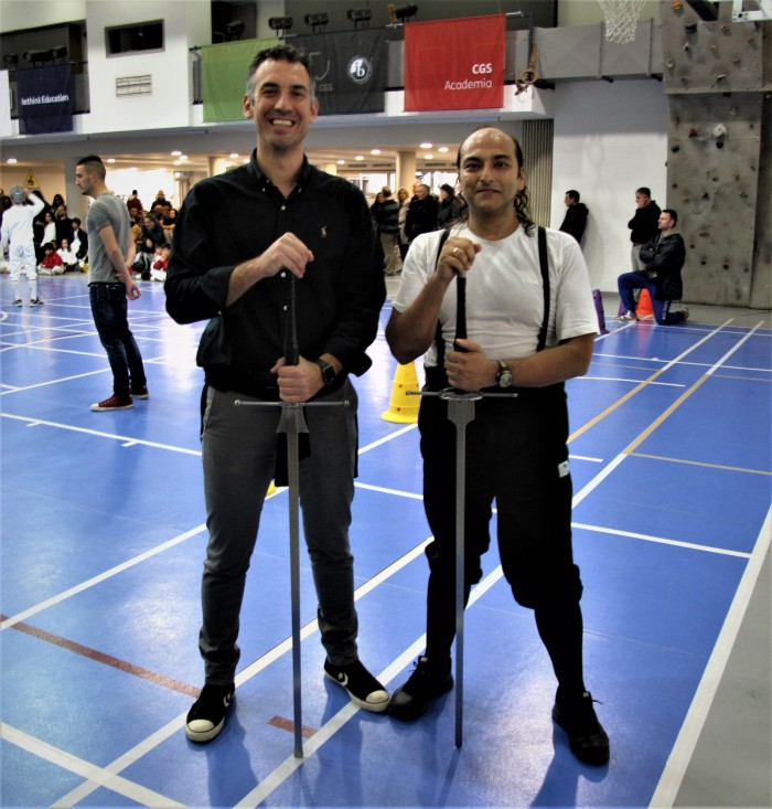 The Fencing coaches Mr. Nicolaos Psychas and Mr. George E. Georgas
