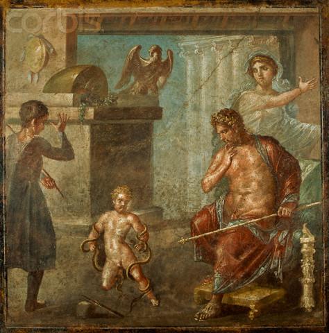ο Αμφιτρύωνας σε τοιχογραφία από την Πομπηία απεικονίζεται να παρακολουθεί τον πνιγμό των δύο φιδιών από το βρέφος Ηρακλή.