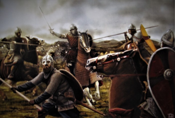 O αυτοκράτορας Αλέξιος Κομνηνός περικυκλωμένος από Νορμανδούς ιππότες κατά τη τελευταία φάση της μάχης του Δυρραχίου. Πίνακας του Θάνου Βασιλικού